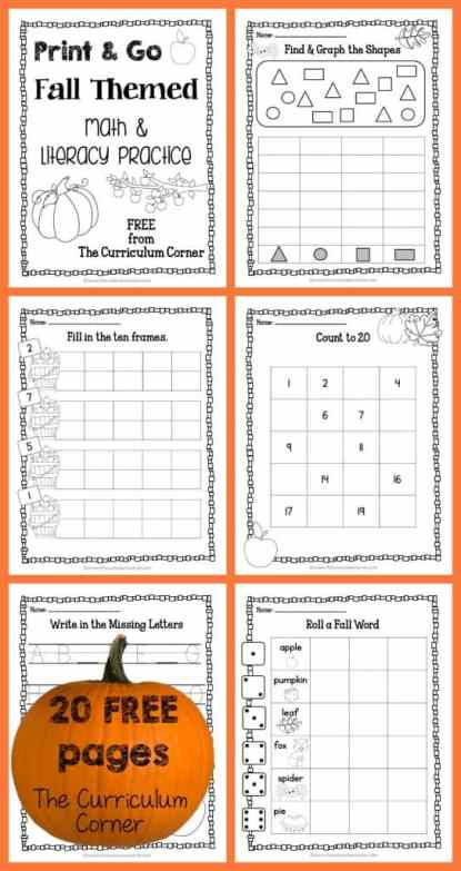20 FREE Pages! Print & Go Kindergarten Practice Pages for Fall FREEBIE from The Curriculum Corner