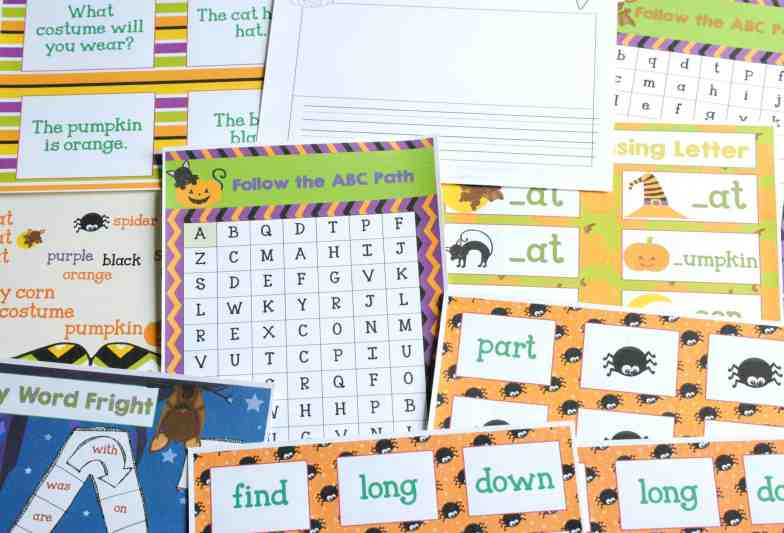 FREE COLLECTION! 20 Halloween Themed Math & Literacy Centers from The Curriculum Corner