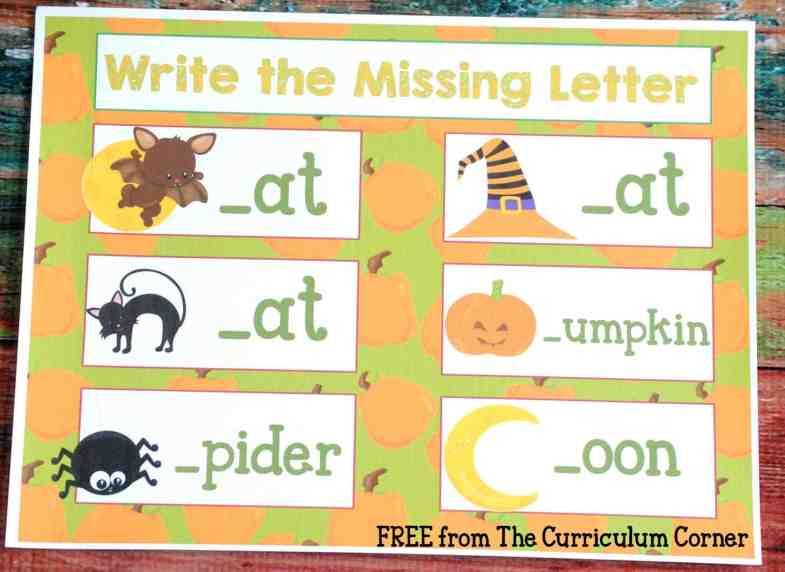 Missing Letters FREE COLLECTION! 20 Halloween Themed Math & Literacy Centers from The Curriculum Corner