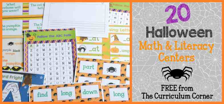 FREE COLLECTION! 20 Halloween Centers Themed Math & Literacy Centers from The Curriculum Corner