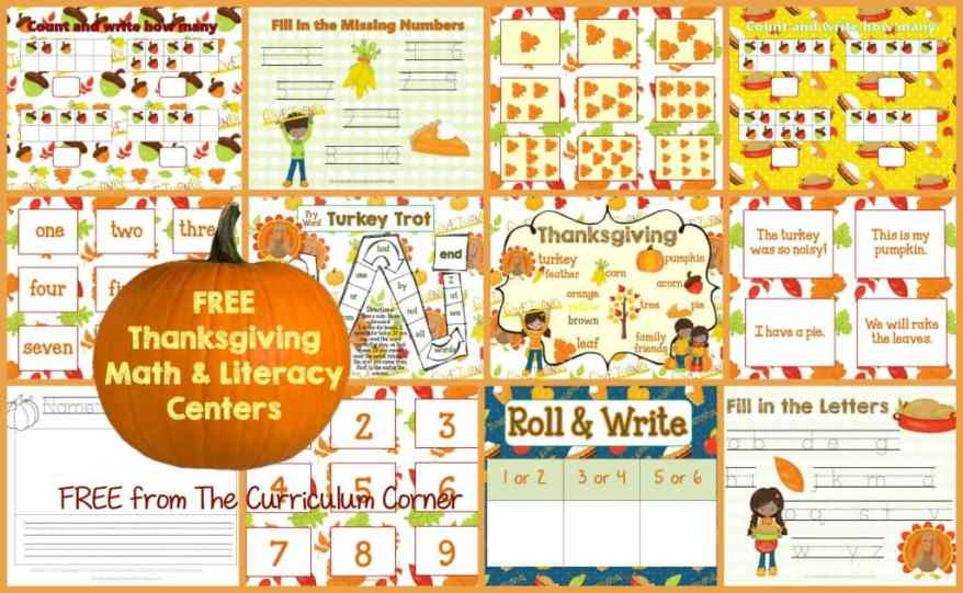 FREE Thanksgiving Math & Literacy Centers from The Curriculum Corner
