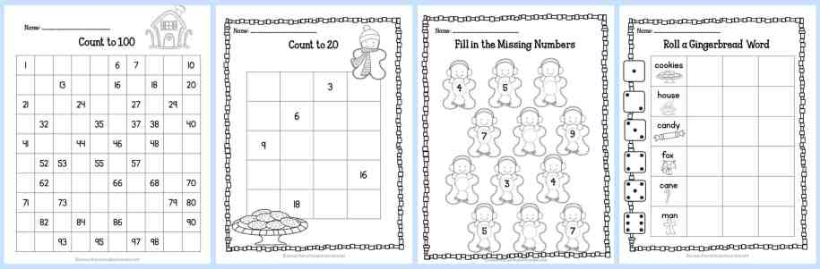 FREE Gingerbread Print & Go Math and LIteracy Practice Pages by The Curriculum Corner | for kindergarten & first grades
