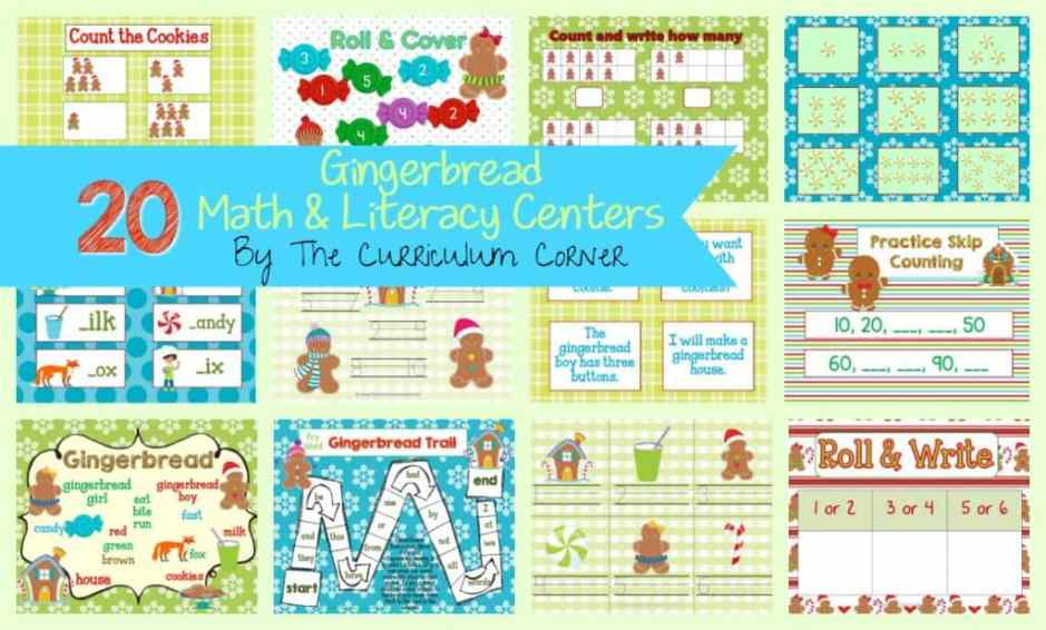 FREE! Gingerbread Man Centers for Math & Literacy from The Curriculum Corner   counting, Fry words, BUMP, roll & read, roll & write, write the room and much more!