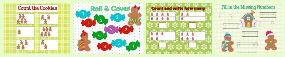 FREE! Gingerbread Man Centers for Math & Literacy from The Curriculum Corner   counting, Fry words, BUMP, roll & read, roll & write, write the room and much more! roll & cover
