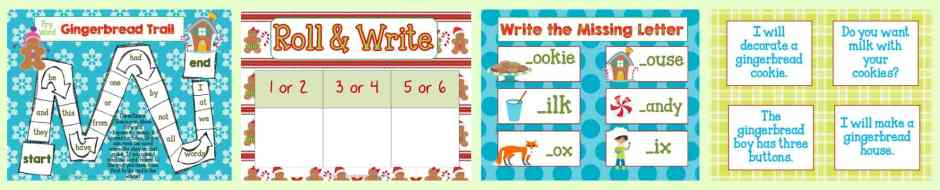 FREE! Gingerbread Man Centers for Math & Literacy from The Curriculum Corner | counting, Fry words, BUMP, roll & read, roll & write, write the room and much more! Great for December