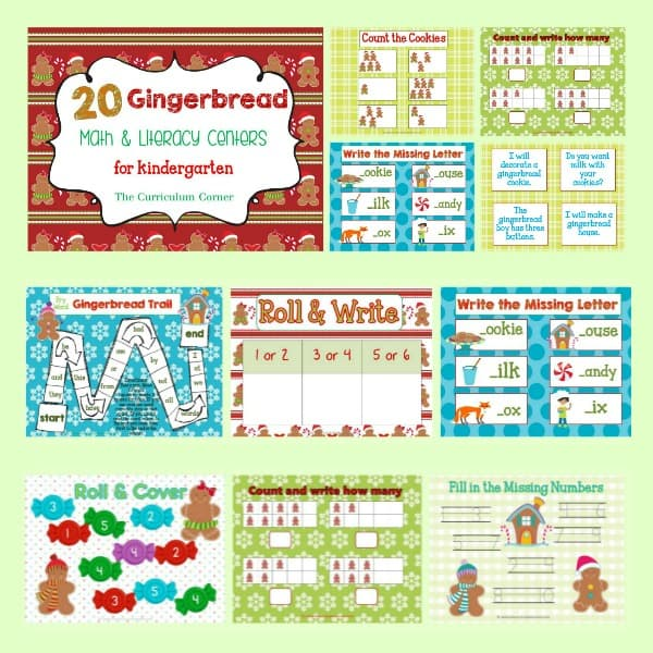 Use these colorful gingerbread man (gingerbread house, boy or girl) centers to help you put together your December math and literacy centers.