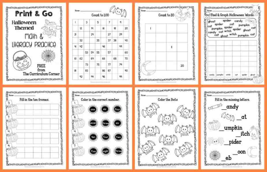 Halloween Print & Go Math and Literacy Practice - The Kinder Corner
