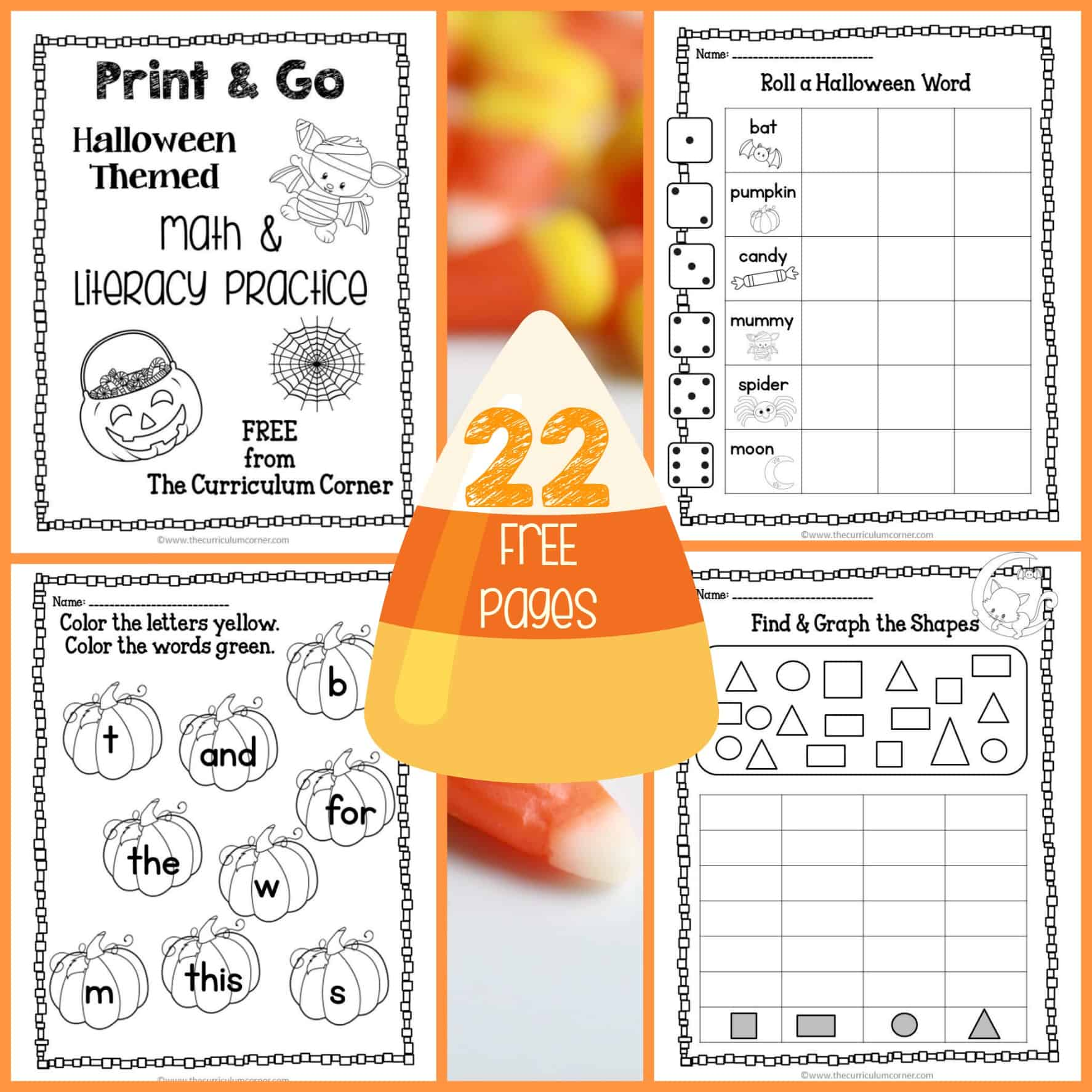 Halloween Print Amp Go Math And Literacy Practice