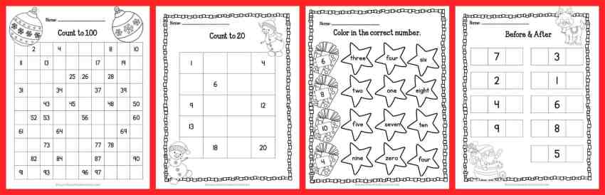 33 FREE Pages! Print & Go Kindergarten & 1st Grade Practice Pages for Christmas from The Curriculum Corner | Fry Words | Number Sense