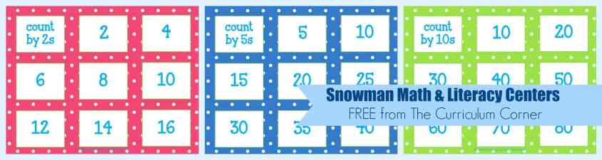 FREE Snowman Math & Literacy Centers from The Curriculum Corner | kindergarten | 1st grade | winter | snowmen | center work