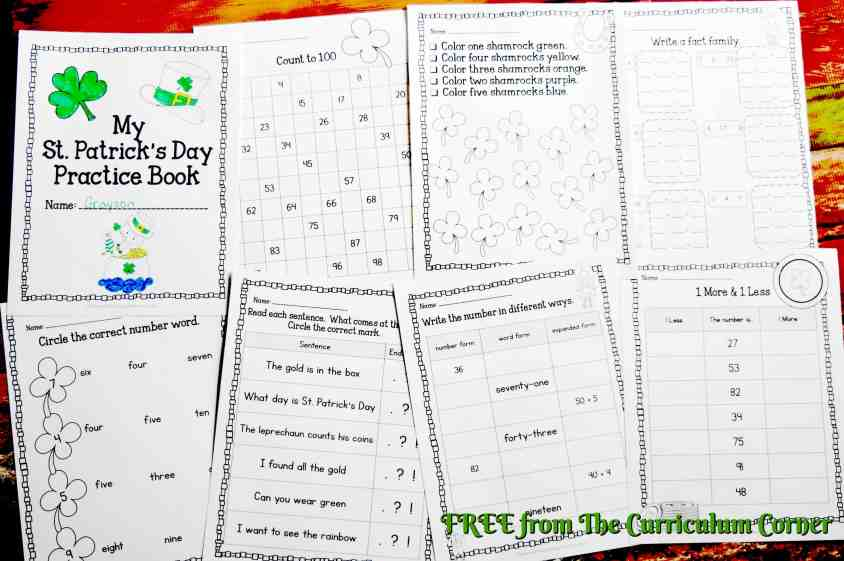 FREE St. Patrick's Day Print & Go Practice Pages from The Curriculum Corner