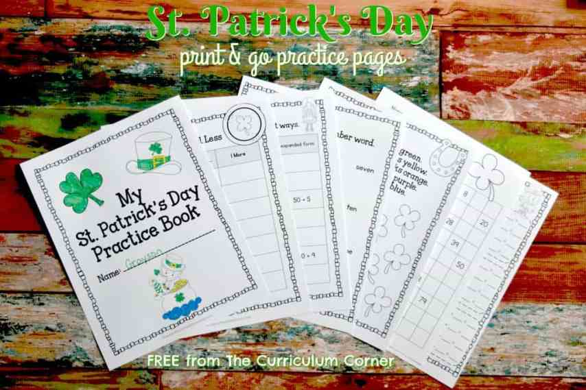 FREE St. Patrick's Day Practice Pages for Print & Go from The Curriculum Corner | computation, number sense, word work, writing & more!