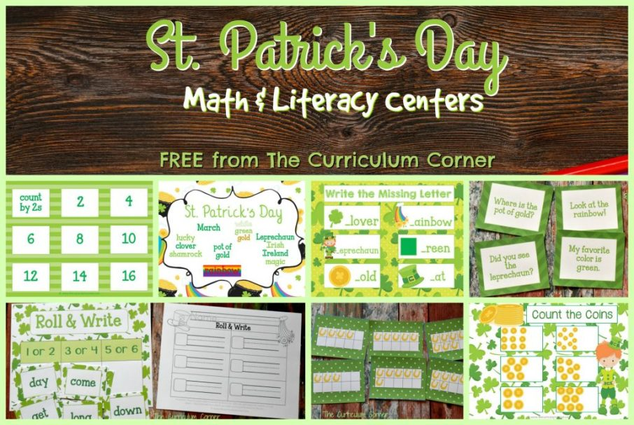 FREE Set of St. Patrick's Day Centers for Math & Literacy from The Curriculum Corner | Fry Words | math facts | 10 Frames