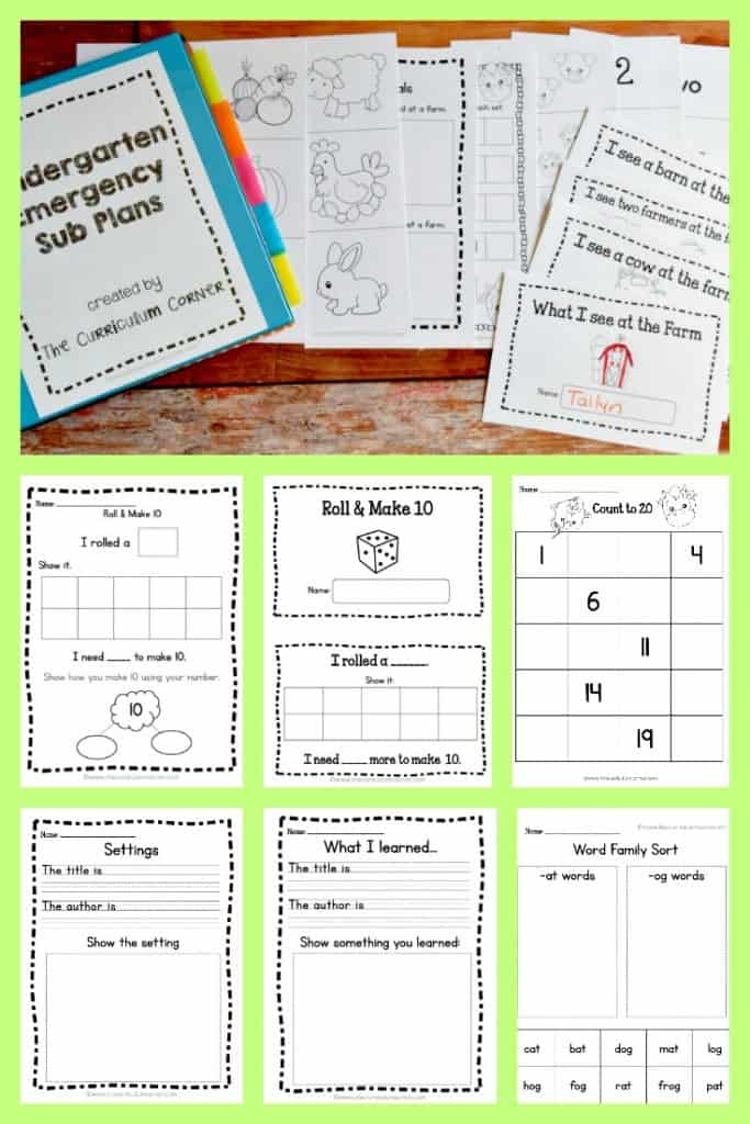 FREE Emergency Kindergarten Sub Plans by The Curriculum Corner