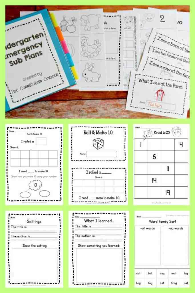 FREE Emergency Kindergarten Sub Plans by The Curriculum Corner