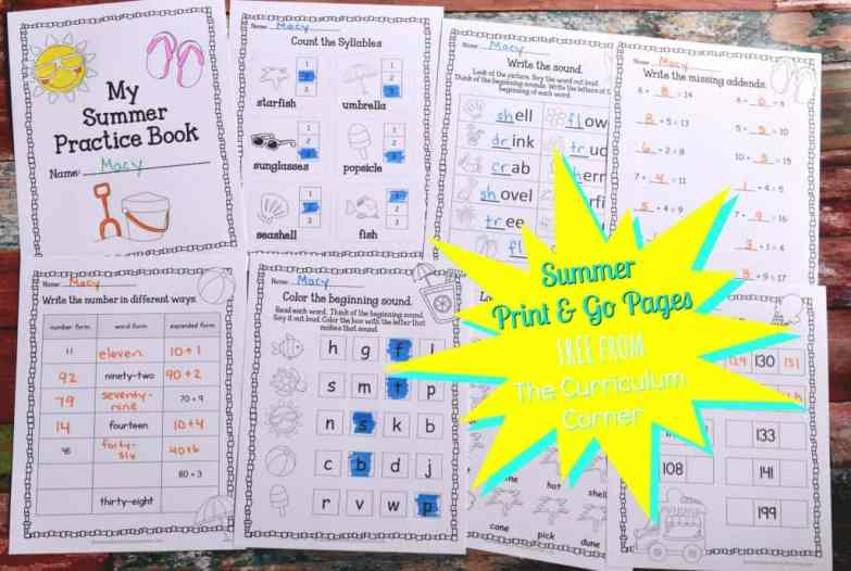 FREE Summer Print & Go Pages | Summer Worksheets from The Curriculum Corner
