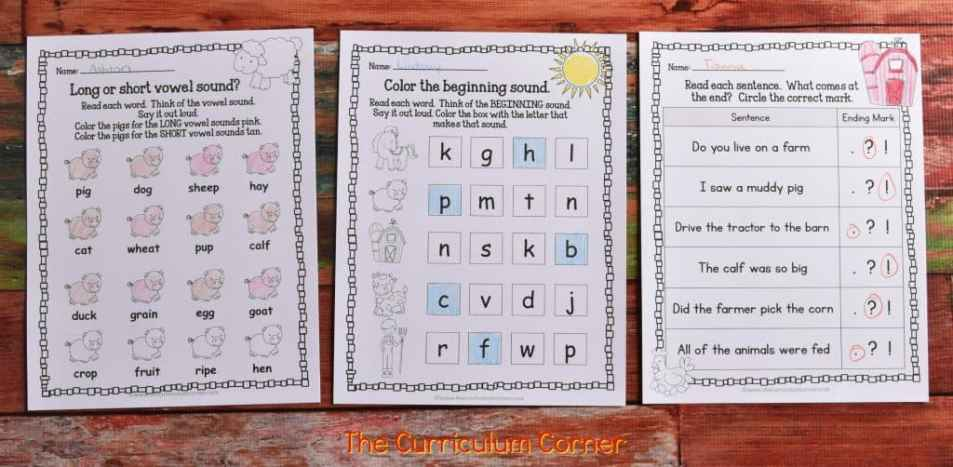 FREE Farm Print & Go Practice Pages (Farm Worksheets) from The Curriculum Corner 4