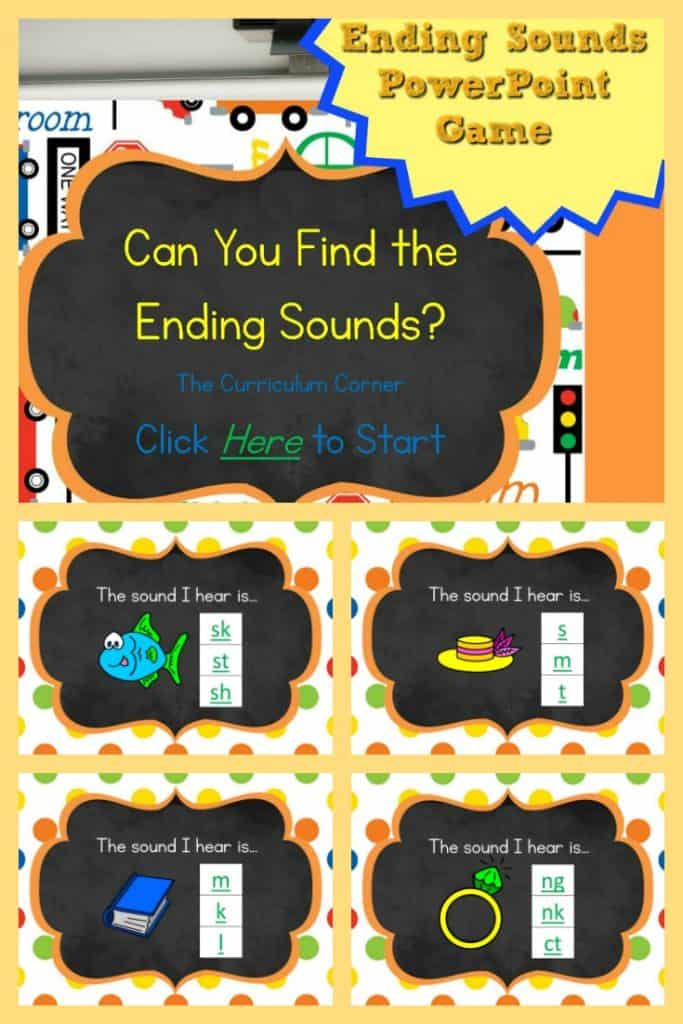 FREE Ending Sound PowerPoint Game from The Curriculum Corner 2