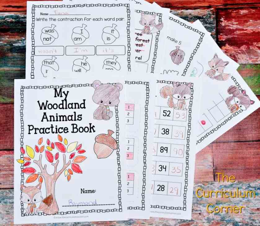 FREE Woodland Animals Print & Go Practice Pages for Math & Literacy from The Curriculum Corner 2