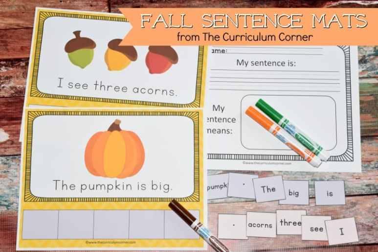 FREE Fall Scrambled Sentences Mats from The Curriculum Corner