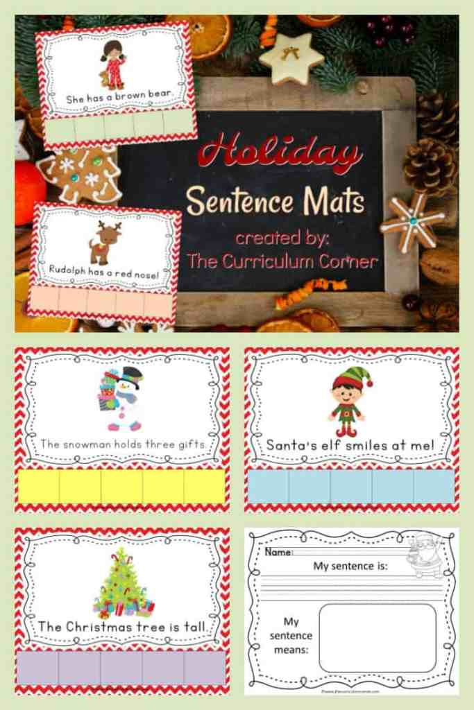 FREE Holiday scrambled sentences from The Curriculum Corner