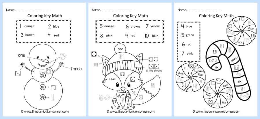 Winter Coloring Key Number ID Practice
