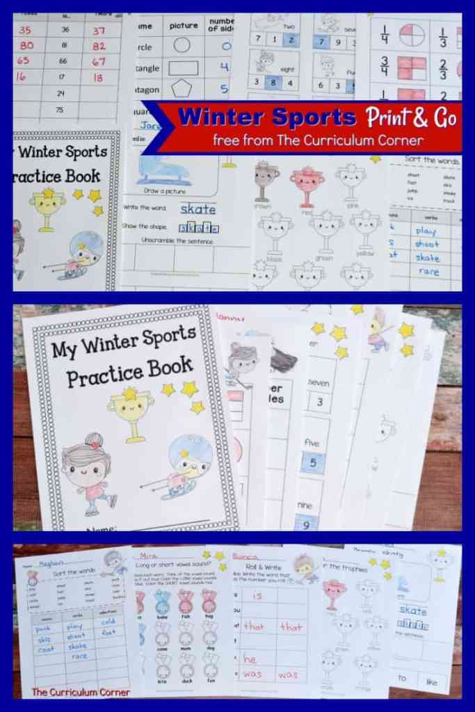 FREE Winter Sports Worksheets from The Curriculum Corner for Math & Literacy Practice