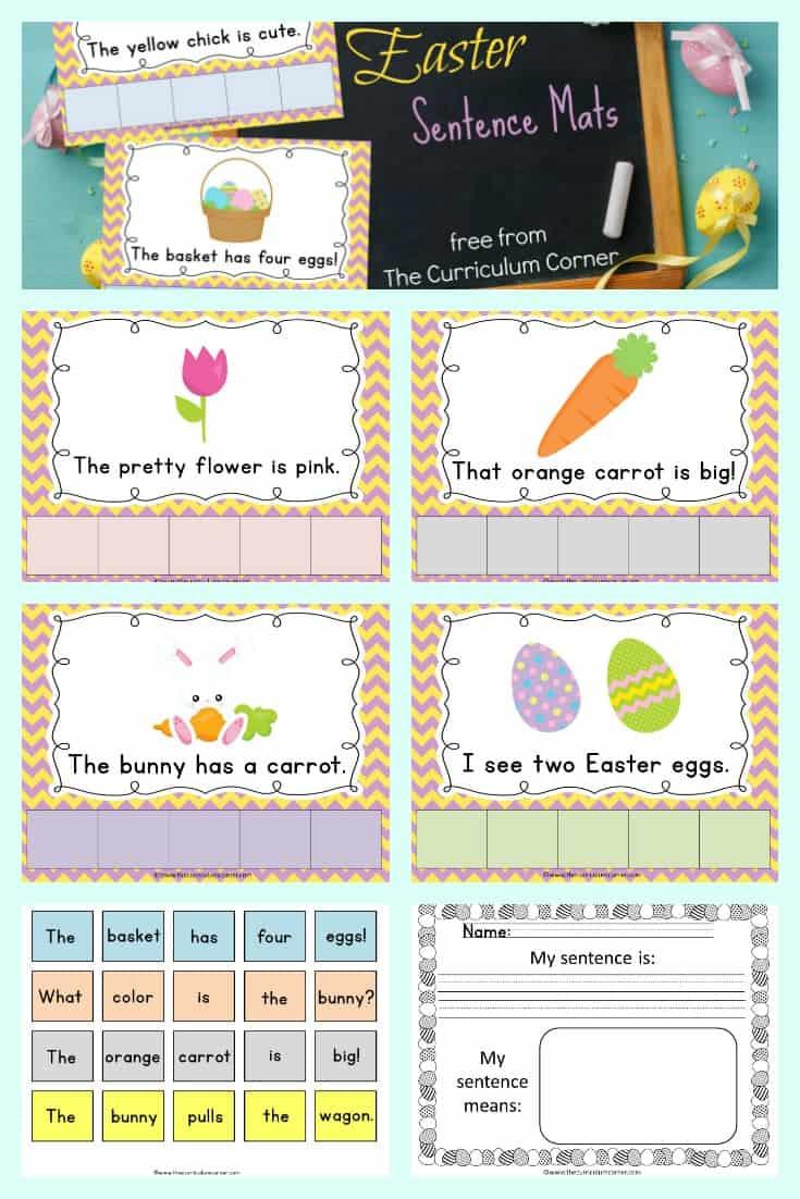 FREE Easter Sentence Mats from The Curriculum Corner | Literacy Center