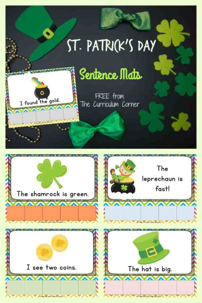 St. Patrick's Day Sentence Mats FREE from The Curriculum Corner