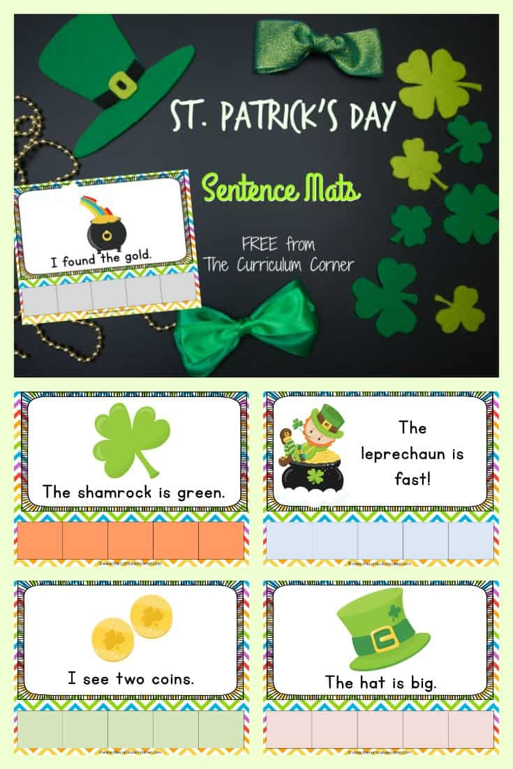 St. Patrick's Day Scrambled Sentences - sentence mats FREE from The Curriculum Corner
