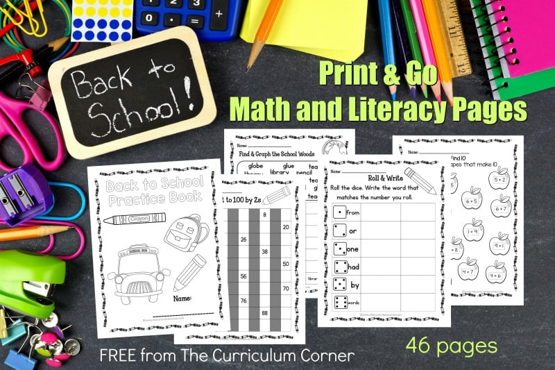 This free collection of math and literacy back to school practice pages (back to school worksheets) for print & go review is designed for skill practice.