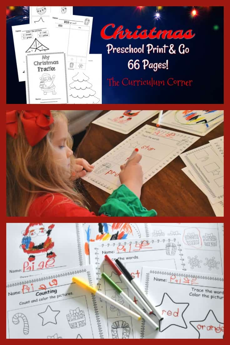 These free Christmas preschool pages are print and go pages designed to give your preschool and prekindergarten students seasonal practice.