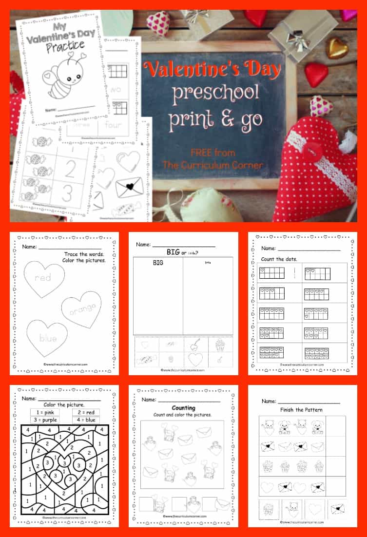 These free Valentine preschool pages are print and go pages designed to give your preschool and prekindergarten students seasonal practice. Free early math and literacy practice for your home or classroom.
