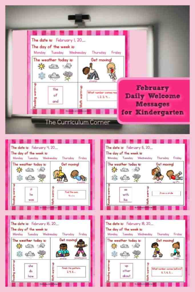 This set of free and editable Kindergarten February Daily Welcome Messages is an easy way to get your students to enter the classroom and focus on the day ahead.