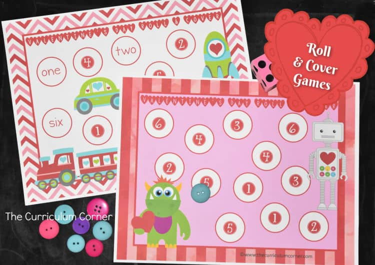 valentine roll cover number identification game