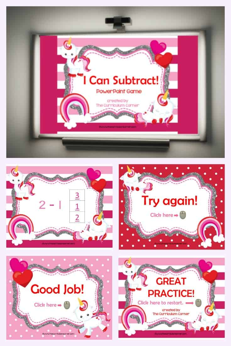 Our free Valentine subtraction computer game is designed to give your kindergarten students practice with subtraction facts within 10.