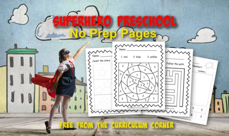 These free superhero preschool pages are print and go pages designed to give your preschool and prekindergarten students themed skill practice.