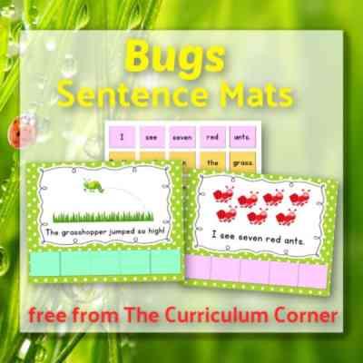 Bugs Themed Sentence Mats
