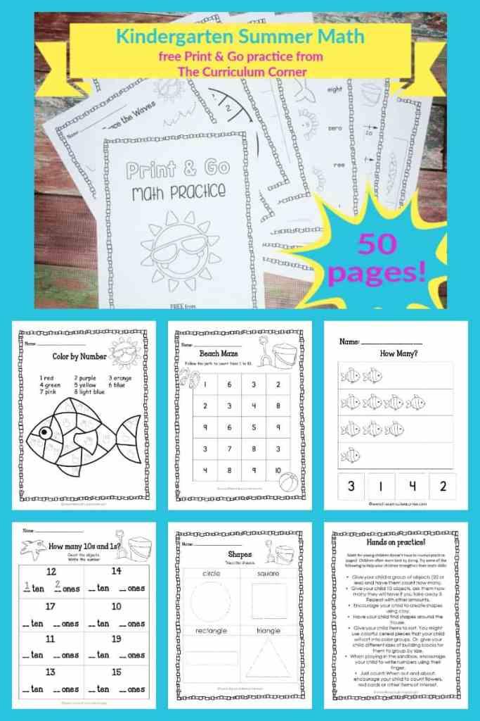 Kinder summer math practice booklet