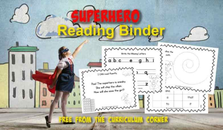 This superhero reading binder is designed to help you create a quick and ready to go binder for your young readers.