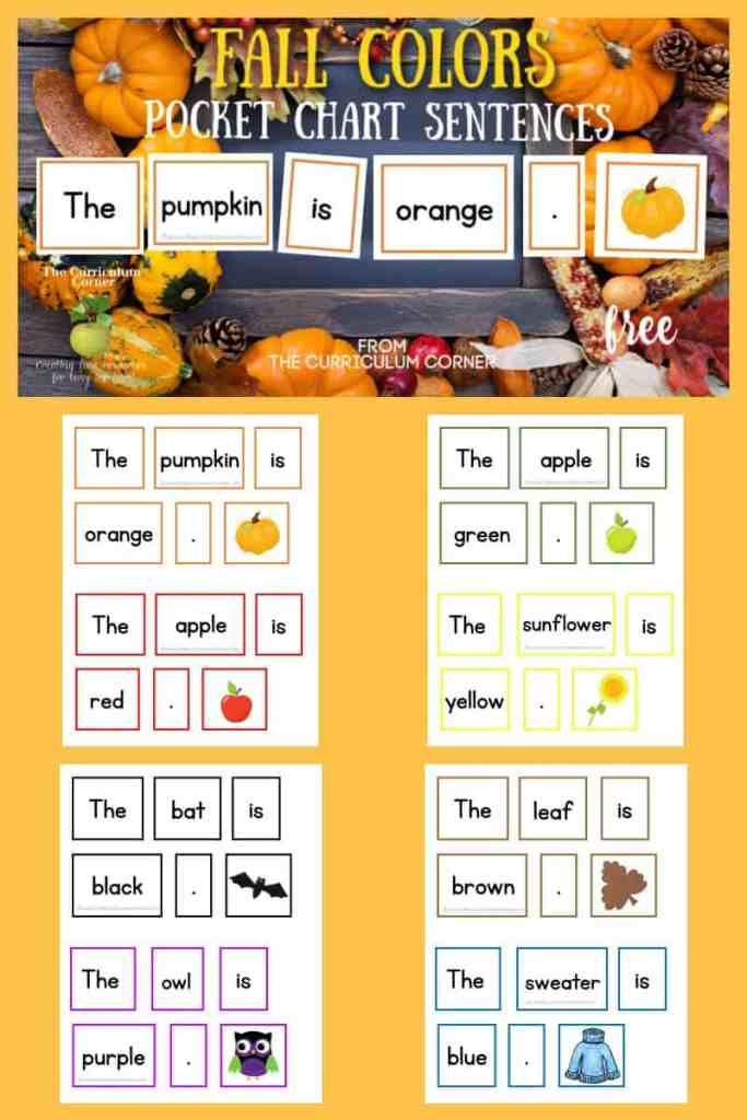 fall pocket chart sentences