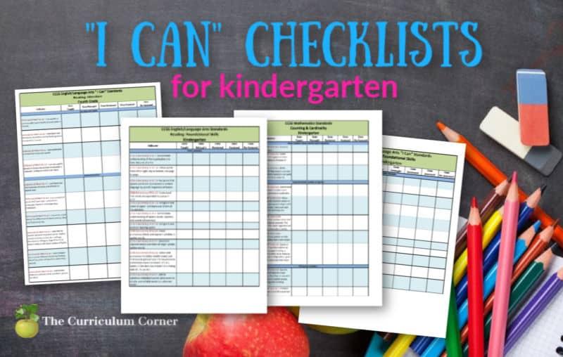 kindergarten I Can checklists