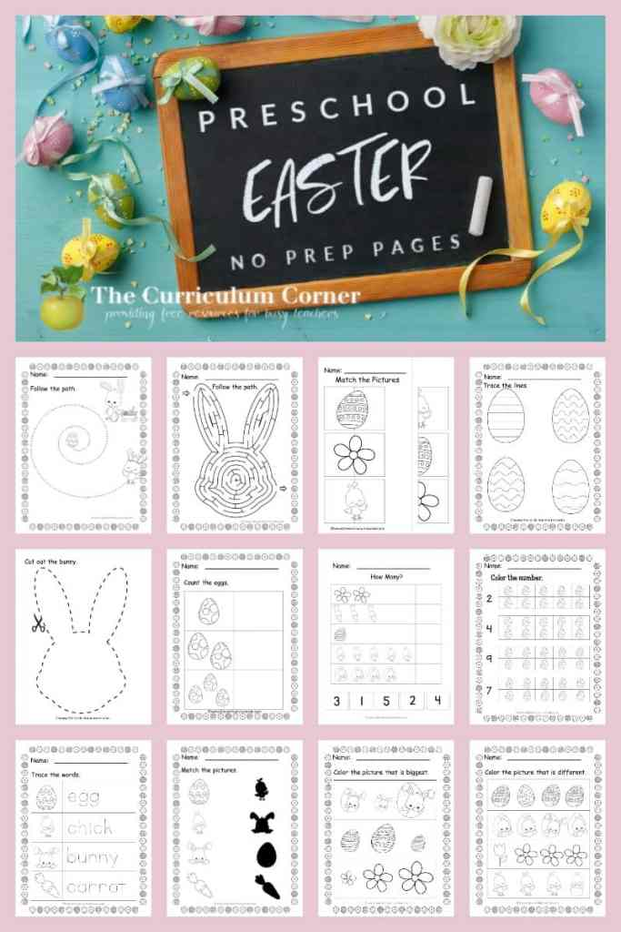 Free Easter no prep pages for preschool