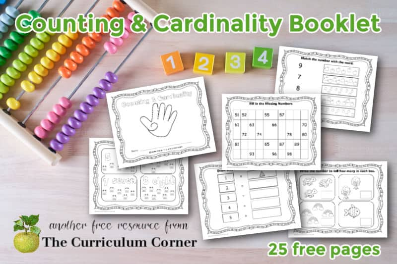 Download this free counting and cardinality booklet to help your students practice kindergarten math standards.