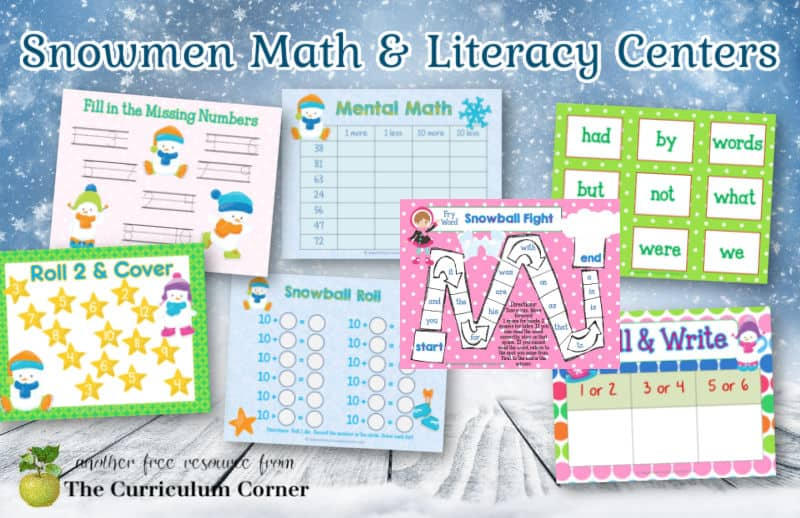 Use these colorful snowmen math and literacy centers to help you put together your winter themed classroom rotations. Free from The Curriculum Corner.