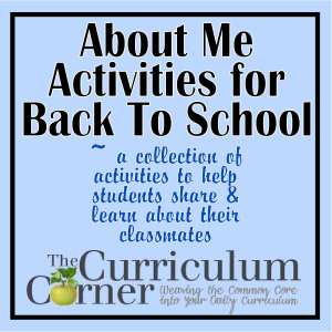 About Me Activities for Back to School