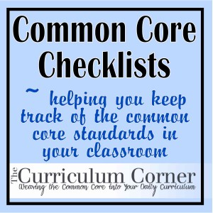 graphic relating to Kindergarten Common Core Standards Printable identified as Well-known Main Checklists - The Curriculum Corner 123