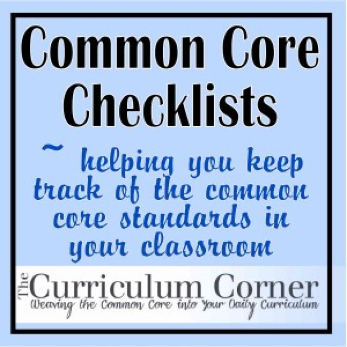 Common Core Checklists - The Curriculum Corner 123