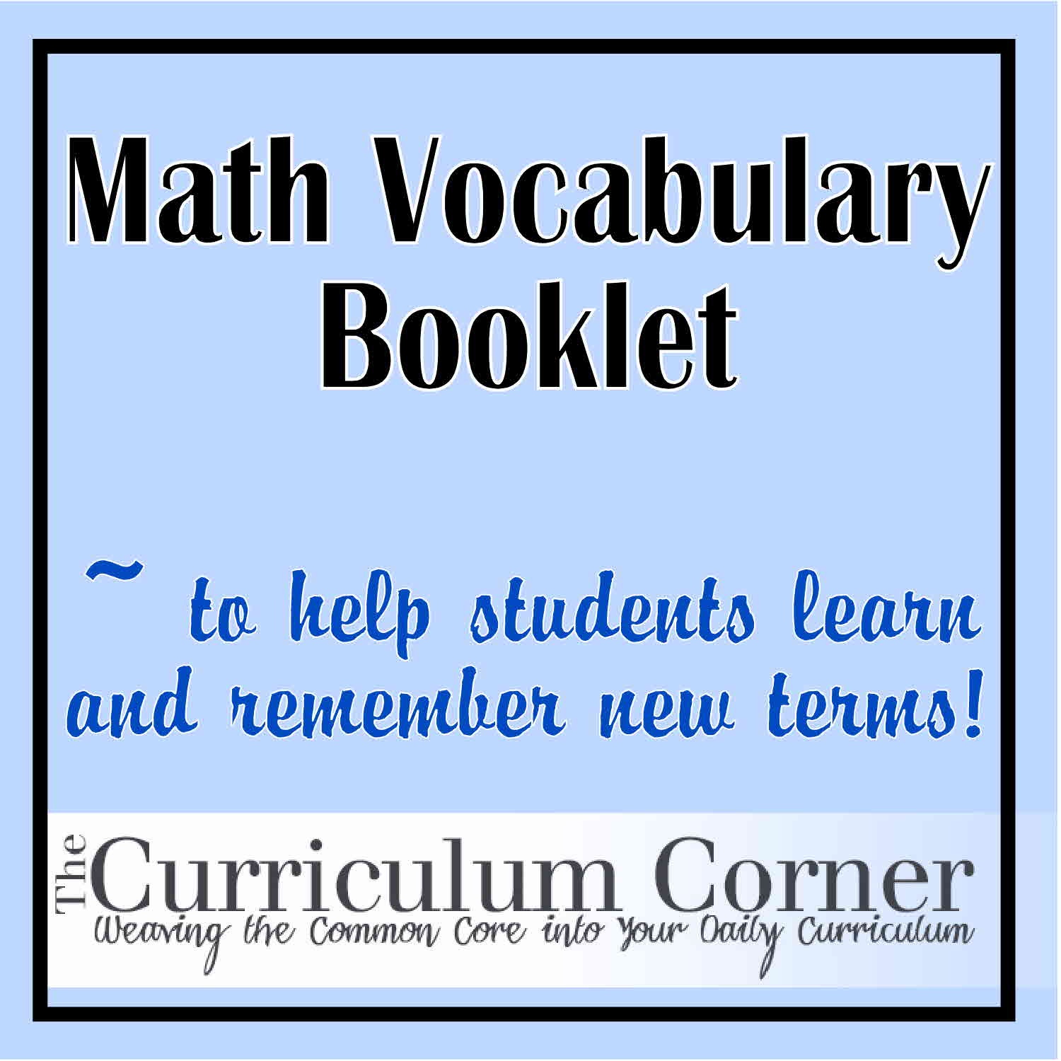 Blank Math Vocabulary Booklet For The Classroom