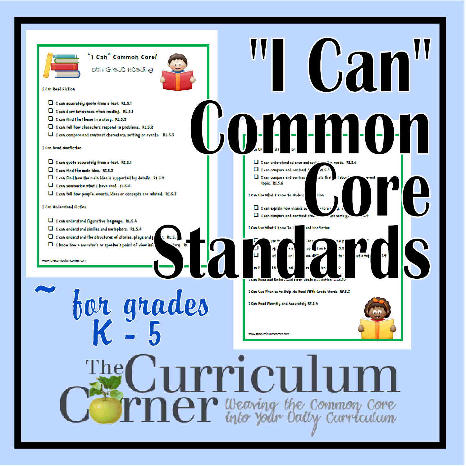 I Can Common Core Standards For K 6